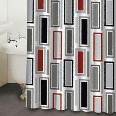 Black White Red Shower Curtain Curtains Bathroom Pinterest