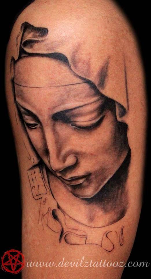 Virgin Mary Portrait In Progress Black And Gray Tattoo Portrait Black And Grey Tattoos Portrait Tattoo