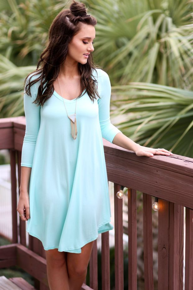 Never Let Go Mint V-Neck Quarter Sleeve Dress