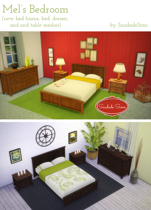 The Sims 4 Saudade Bedroom Set with bed frame and OM double