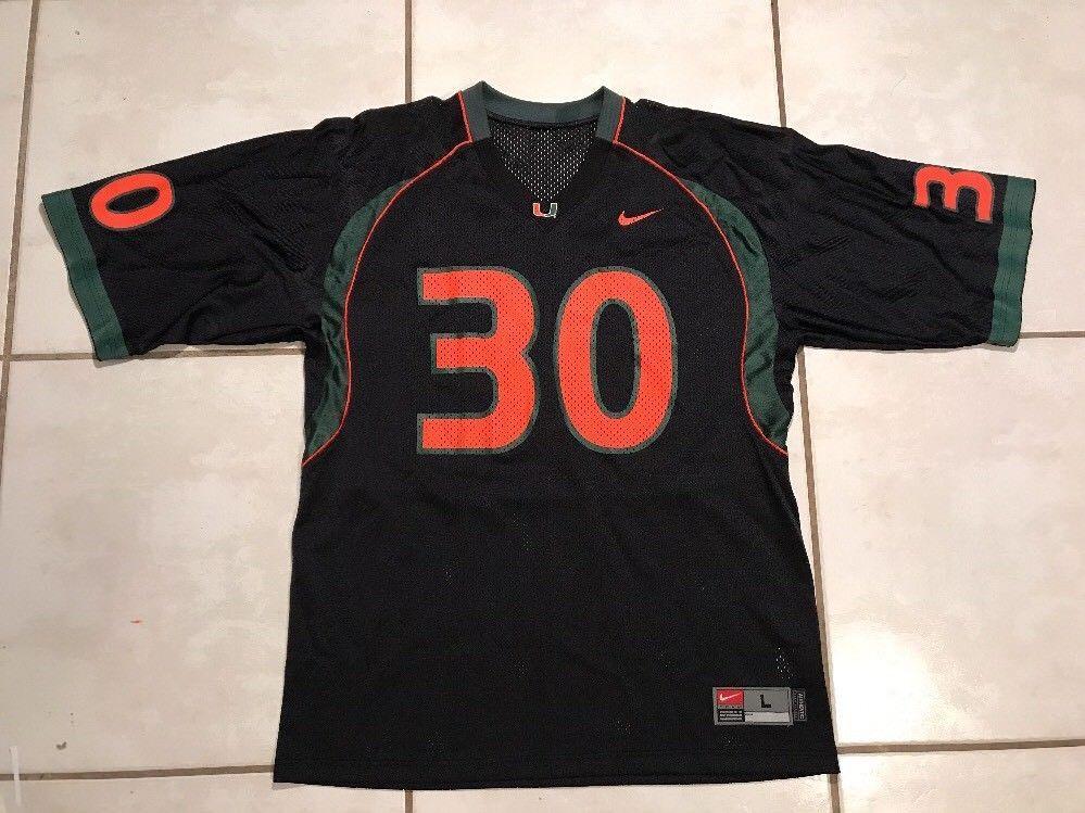 huge selection of 477d0 494b8 Rare NIKE Miami Hurricanes #30 BLACK Football Jersey Men's ...
