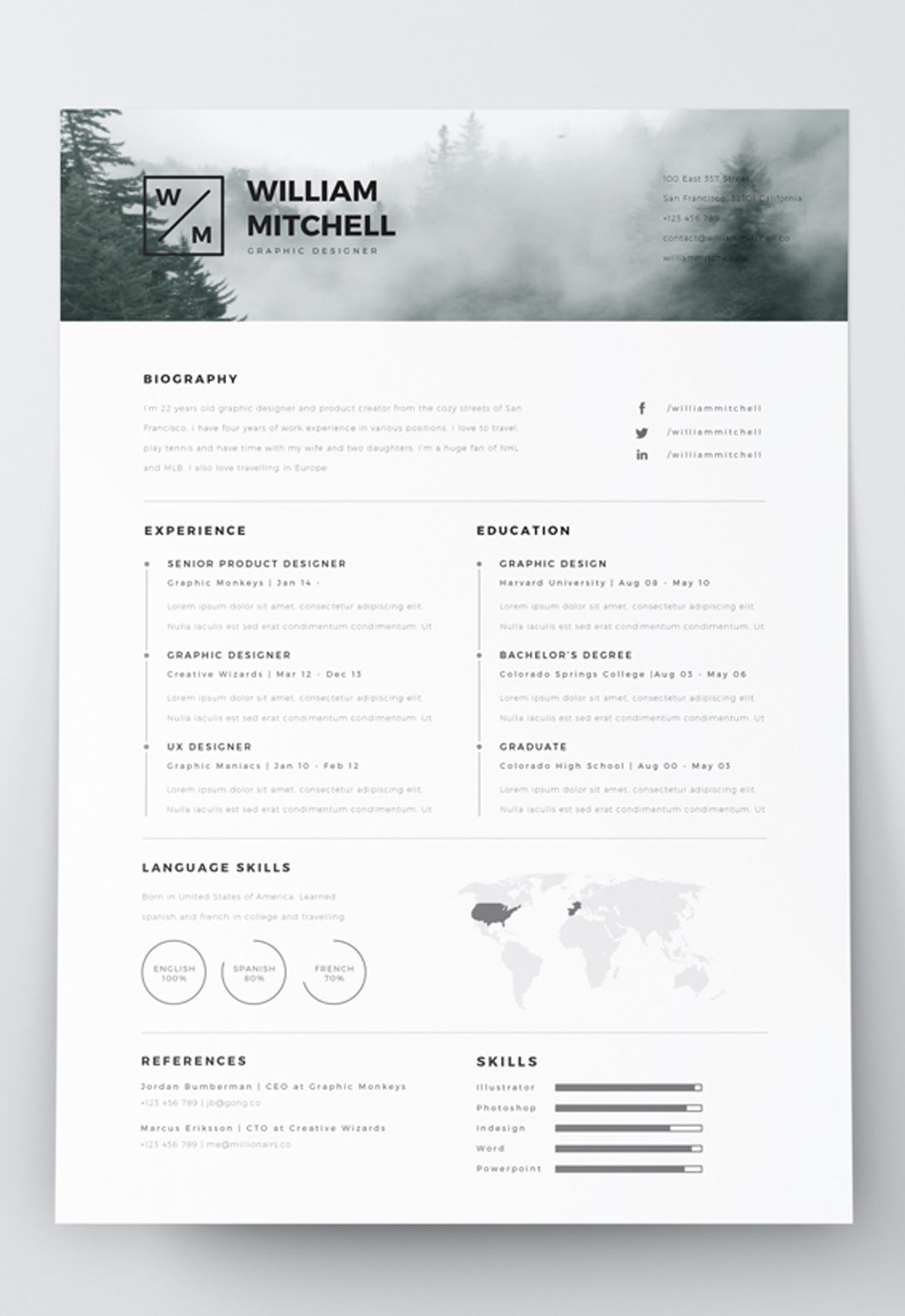 7 Free Editable Minimalist Resume CV In Adobe Illustrator And ...