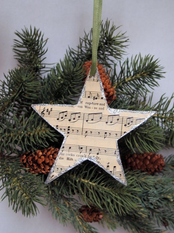 Star Christmas Ornament made from vintage sheet music and silver glitter - SET OF 4 #vintagesheetmusic