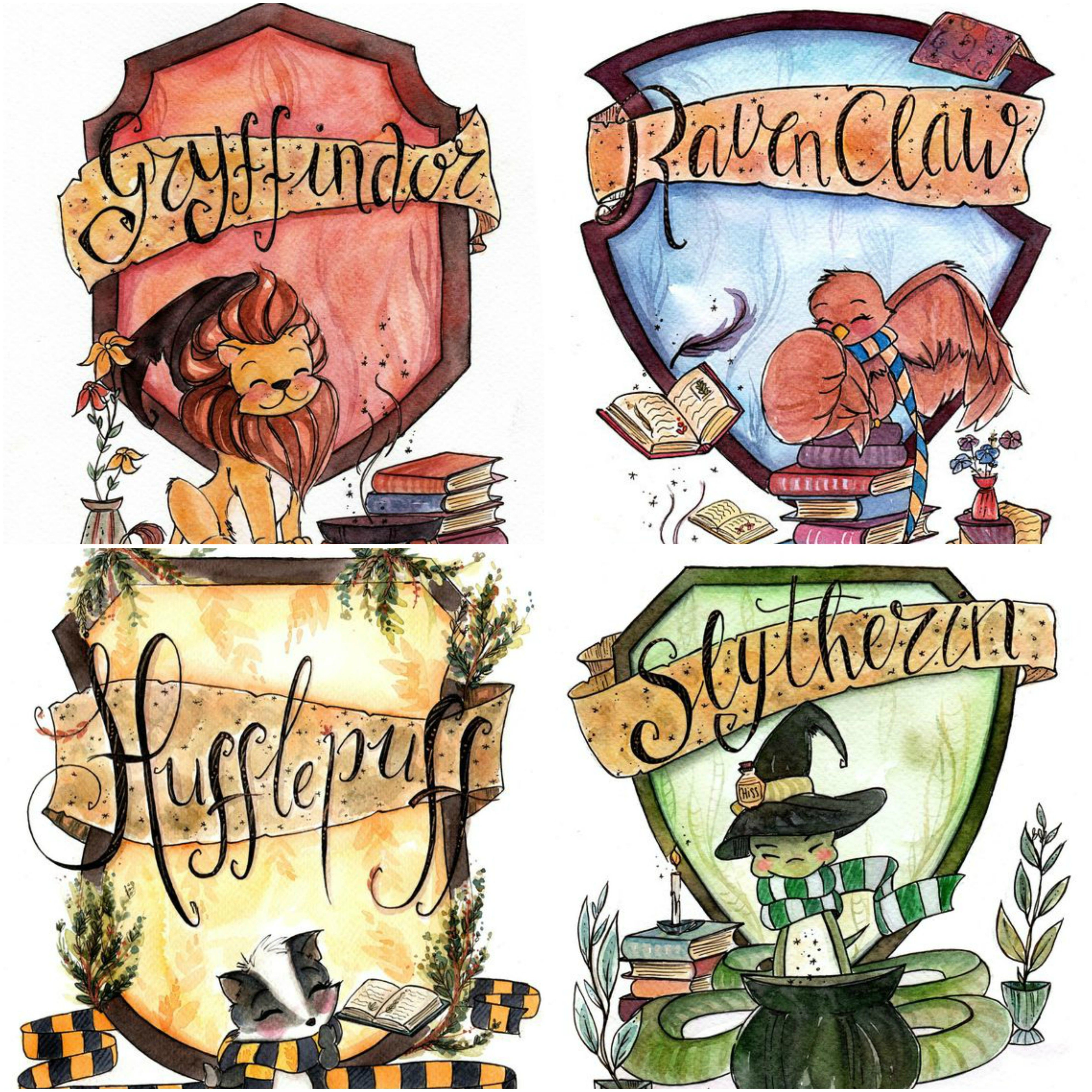 Cute Images Of Hogwarts Houses Harry Potter Illustrations Harry Potter Drawings Harry Potter Background