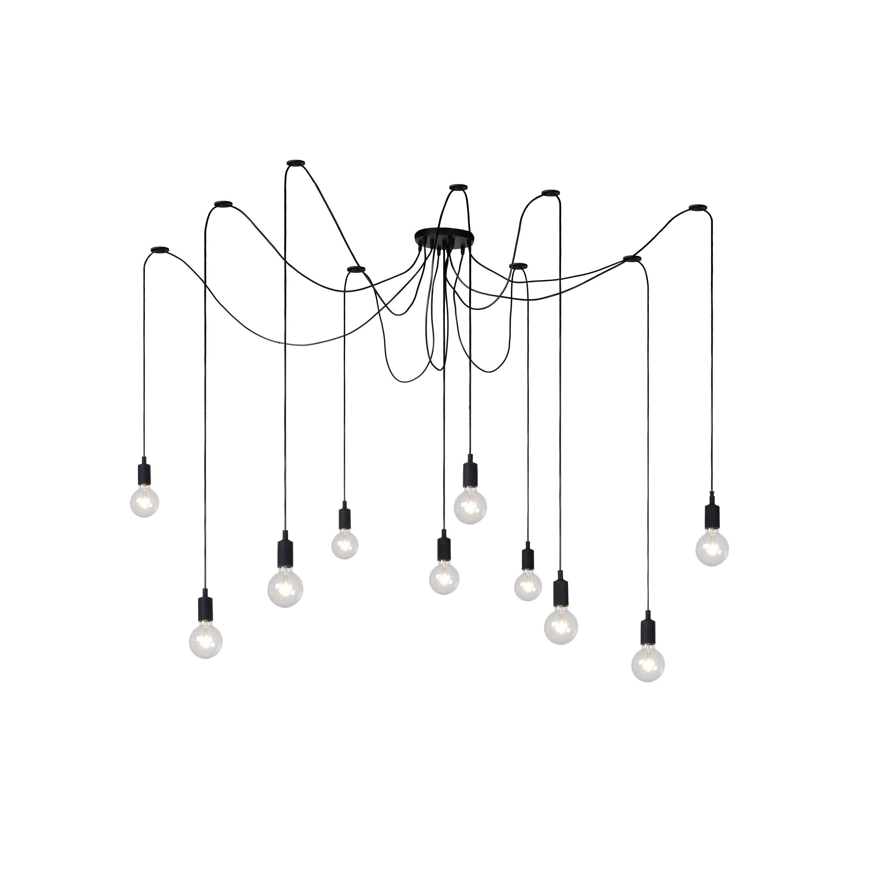 Suspension E27 Moderne Spider Silicone Noir 10 X 60 W