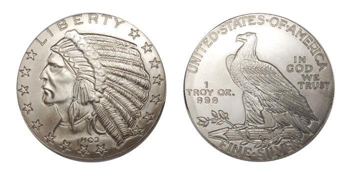 2 5 Dollar Indian Head 1 Ounce Silver Bullion Round Silver Bullion Indian Head Bullion