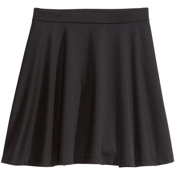 H&M+ Jersey skirt (8.25 CAD) ❤ liked on Polyvore featuring skirts, plus size, h&m, black, jersey skirt, plus size skirts, plus size skater skirt, flared skirt and circle skirt