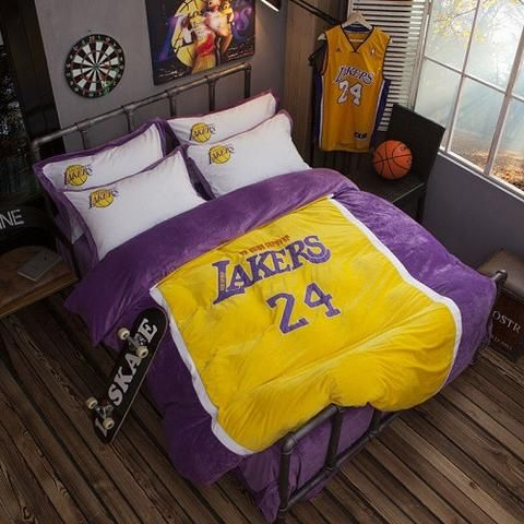 24 Lakers Kobe Basketball Bedding Set 4pcs include Duvet Cover Bed Sheet  Pillowcase Boys Bedding Set. 24 Lakers Kobe Basketball Bedding Set 4pcs include Duvet Cover Bed