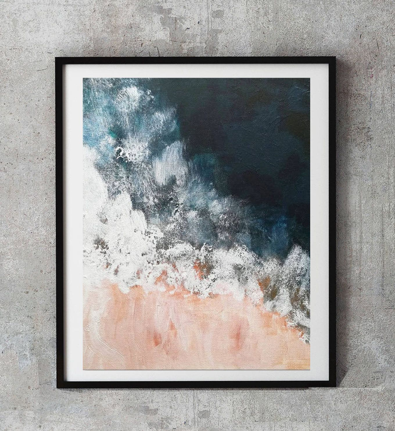 Blush Pink And Navy Indigo Pink Nautical Ocean Art Navy Blue Etsy Blue Wall Art Navy Blue Wall Art Ocean Art