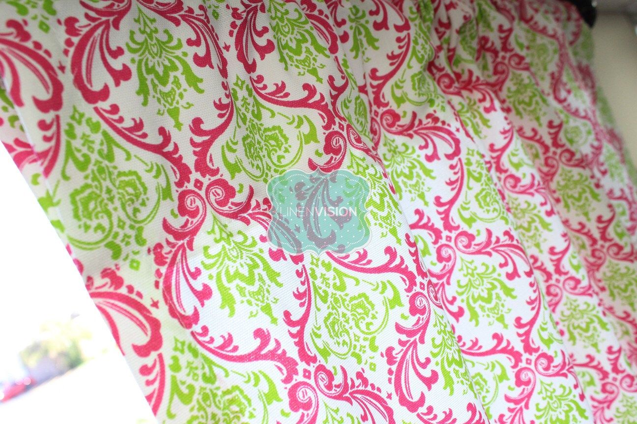 Pink And Green Home Decor Pair Of Curtain Drape Panels 2 Pc Premier Print Madison