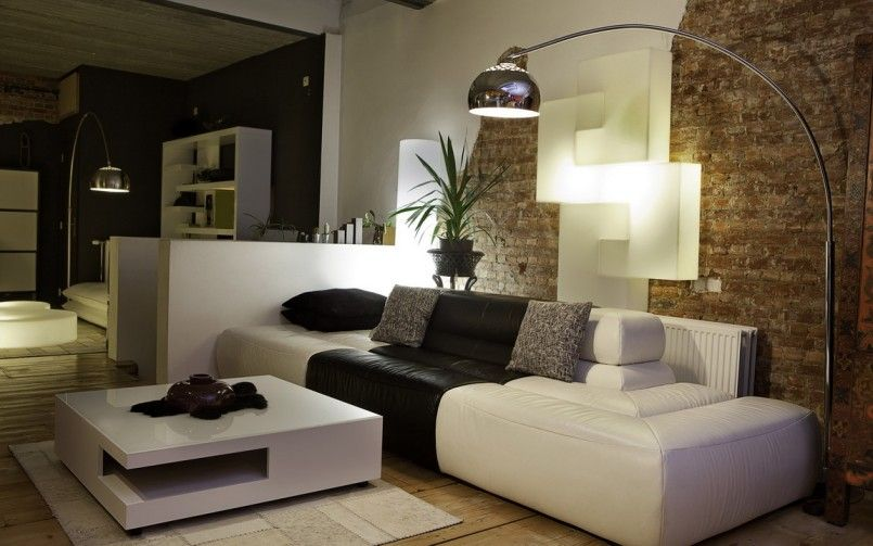 Living Room Small Ideas Floor Lamp With White Stripped Black Contemporary Sofa Designs