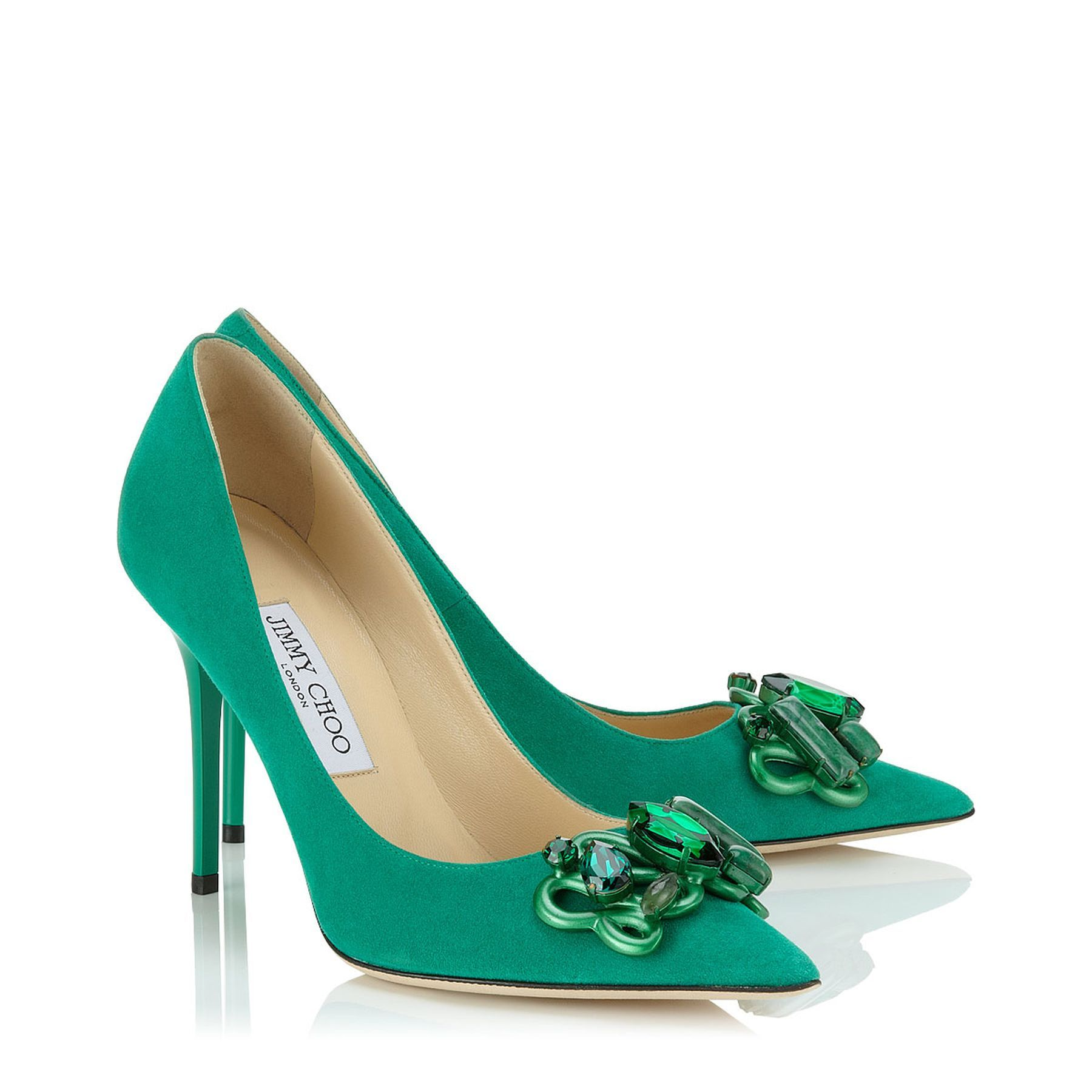 9168b13df Emerald Suede Pump with Semi-Precious Stone Details | Abel | Cruise 15  Vices| JIMMY CHOO Shoes