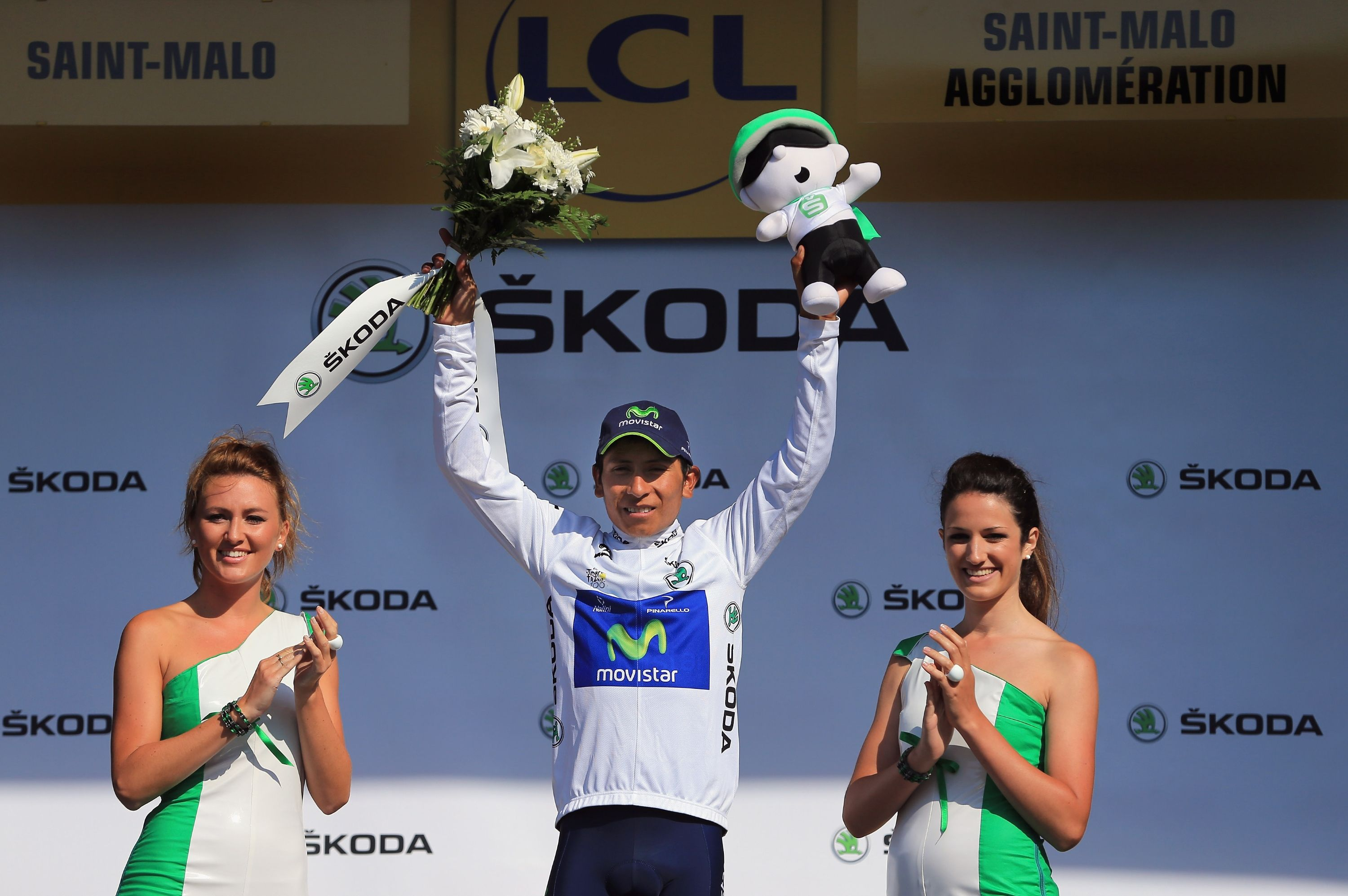 ST MALO, FRANCE - JULY 09: Nairo Alexander Quintana of Columbia riding for Movistar takes the podium after defending the best young rider's white jersey during stage ten of the 2013 Tour de France