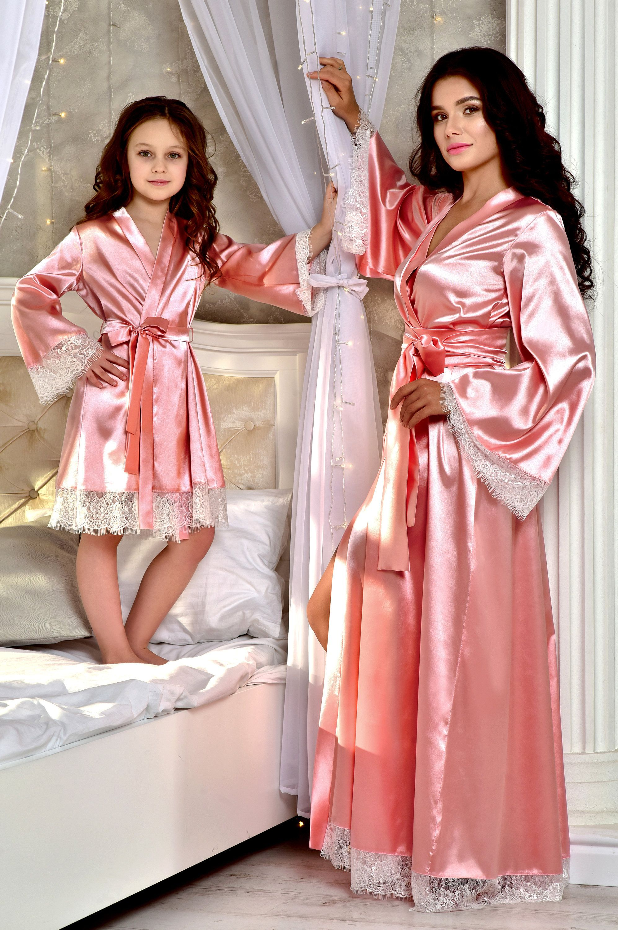 6f76112e886f8 This is extremely beautiful satin robe for a little junior bridesmaid. The  robe is of Blush Pink stretch satin with wide sleeves and white Chantilly  ...