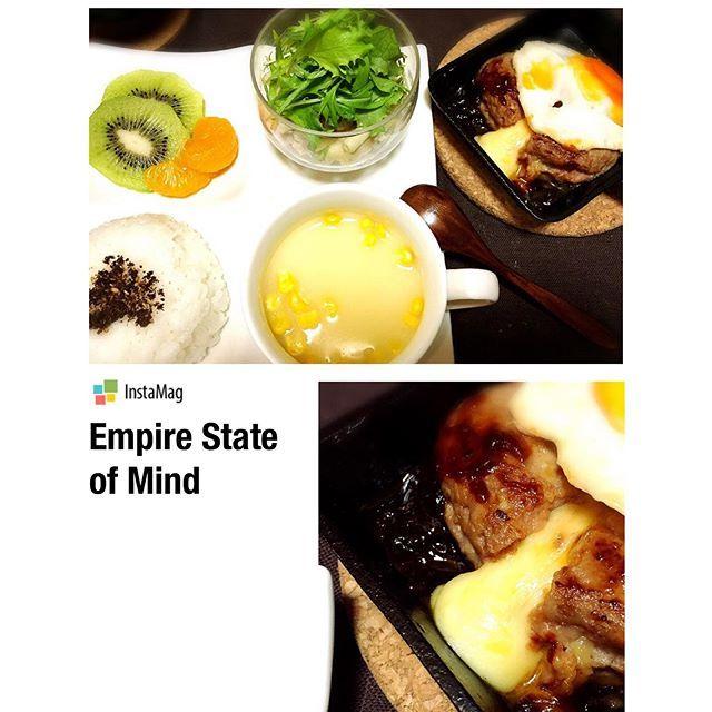 t1211o#夜ごはん#dinner#ワンプレート#おうちごはん#おうちカフェ  #チーズハンバーグ #マカロニサラダ #コーンスープ
