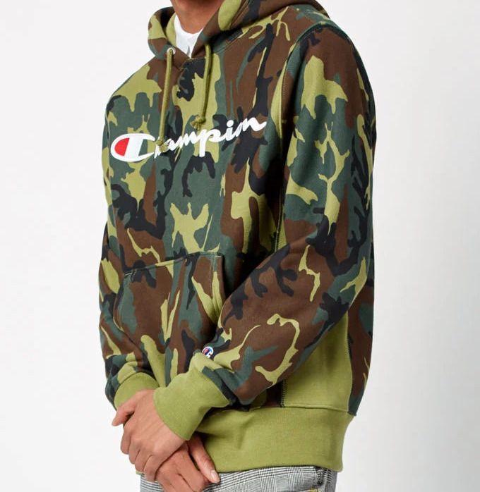 3c6a72e14eeed New Pacsun Champion Mens Green Camo Embroidered Logo Hoodie Sweatshirt Sz  Large #Champion #Hoodie
