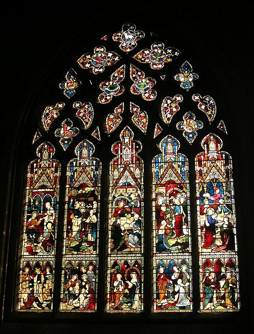 Glass by Clayton and Bell, 1870s, in a 14th-century window at Grantham, Lincolnshire.