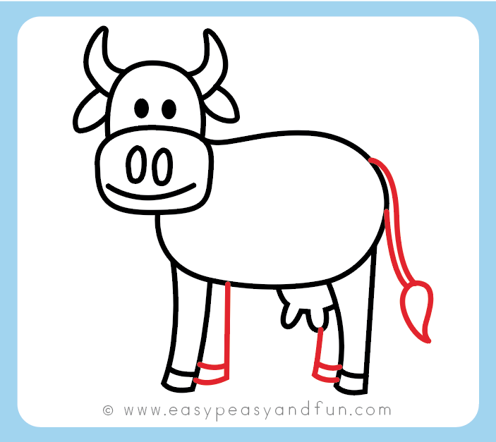 How to Draw a Cow - Step by Step Cow Drawing Instructions ...