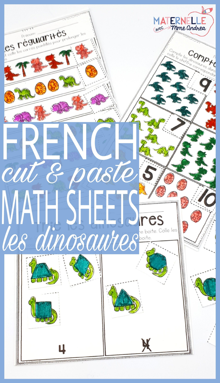 french dinosaur no prep math worksheets cut paste les dinosaures trier sorting in. Black Bedroom Furniture Sets. Home Design Ideas
