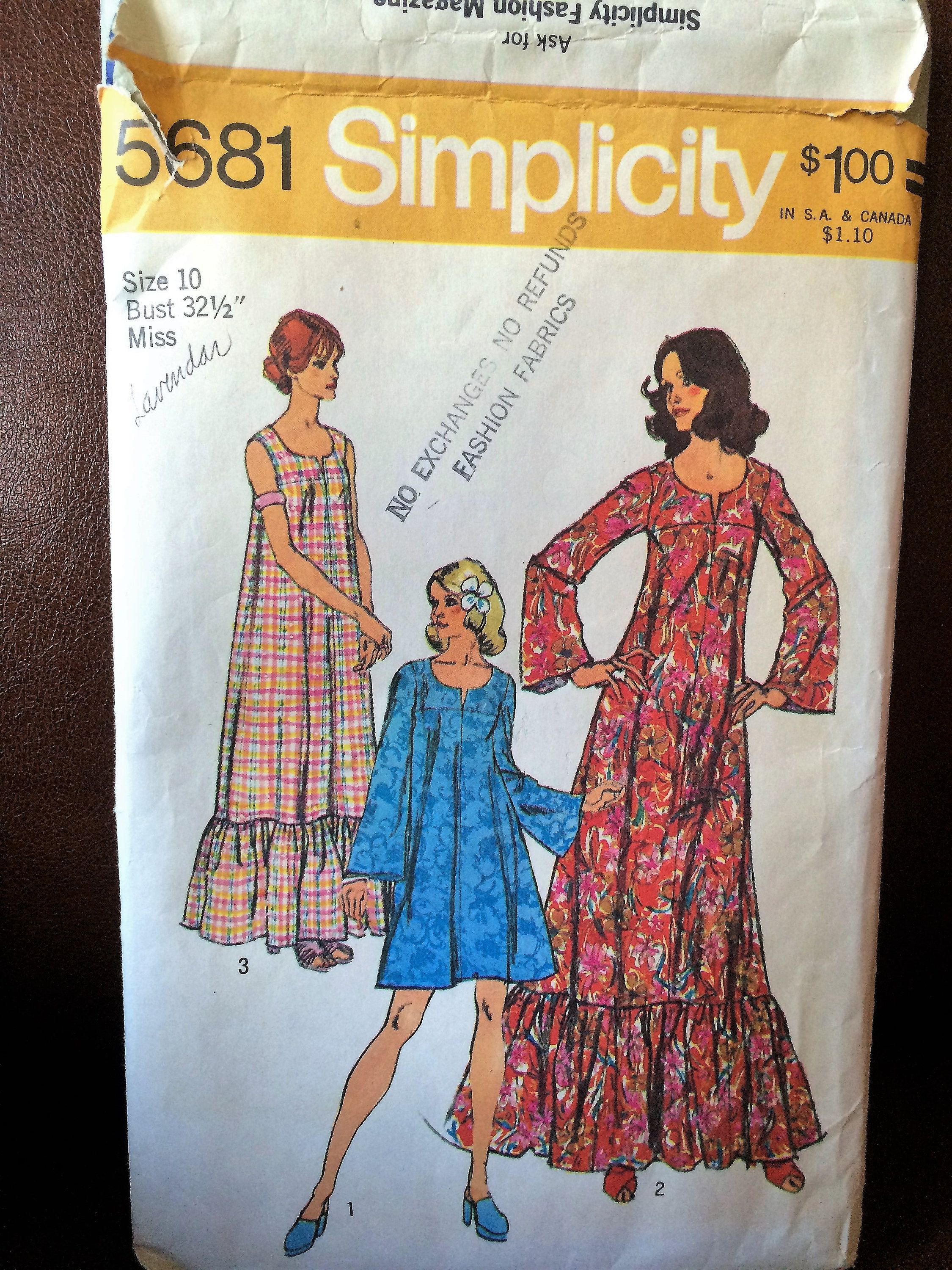 Hippy chick us long maxi dress or short peasant dress simplicity