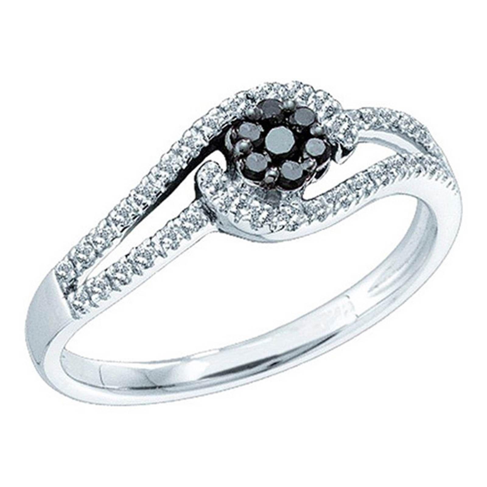 Ladies white gold black and white diamond anniversary flower ring