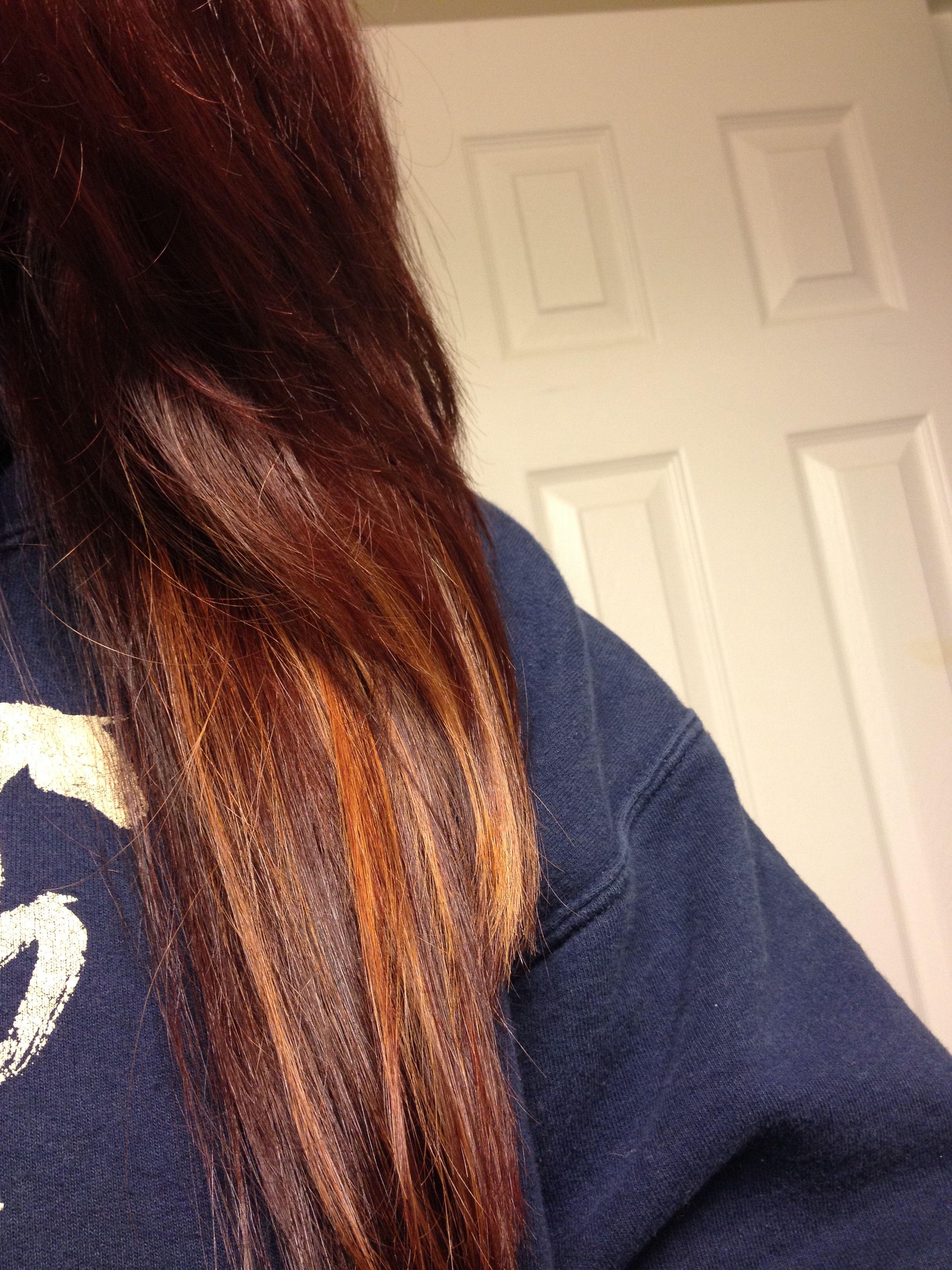 Auburn Hair With Caramel Peekaboo Highlights Hair