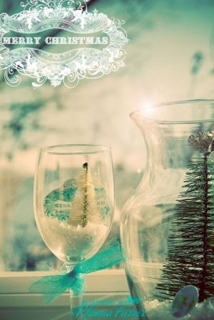 Wine glass with bottle brush tree.  PERFECT. by margie
