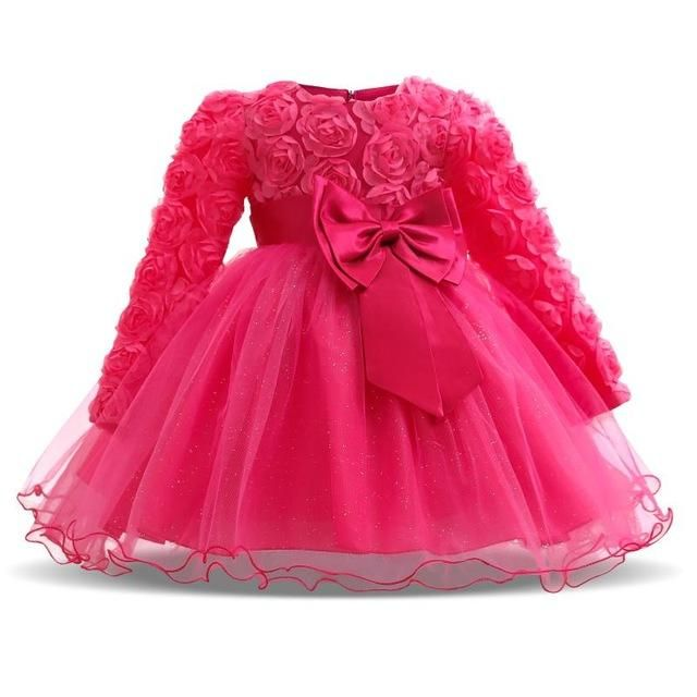 f9ae105b9 Girl Dresses Christening Gown New Infants Dress Floral Bow Baby ...
