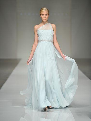 Blue wedding dress from Romona Keveza