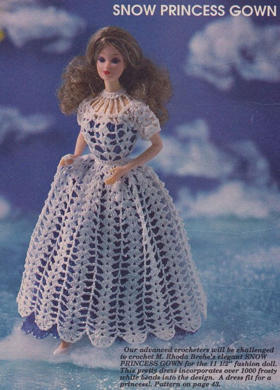 Snow Princess Gown, Fashion Doll Clothes Crochet Pattern Pages BYOB ...