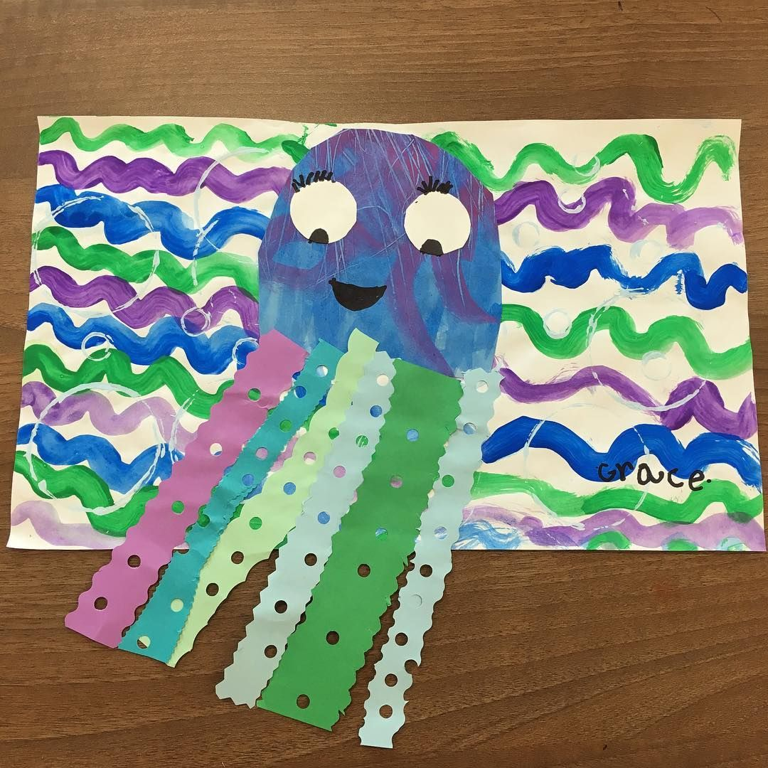 Octopus - Lines, Cool Colors, Cutting, Gluing | Art Ideas for Kids ...