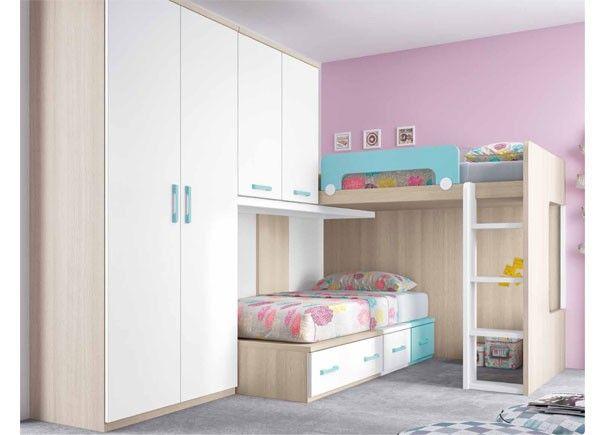 Dormitorio infantil con literas armario y altillo home for Armario habitacion nina