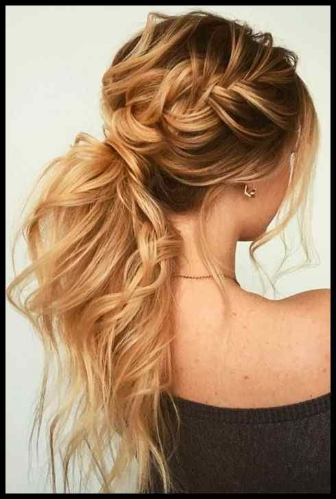 braided messy ponytail  boho prom hairstyle formal