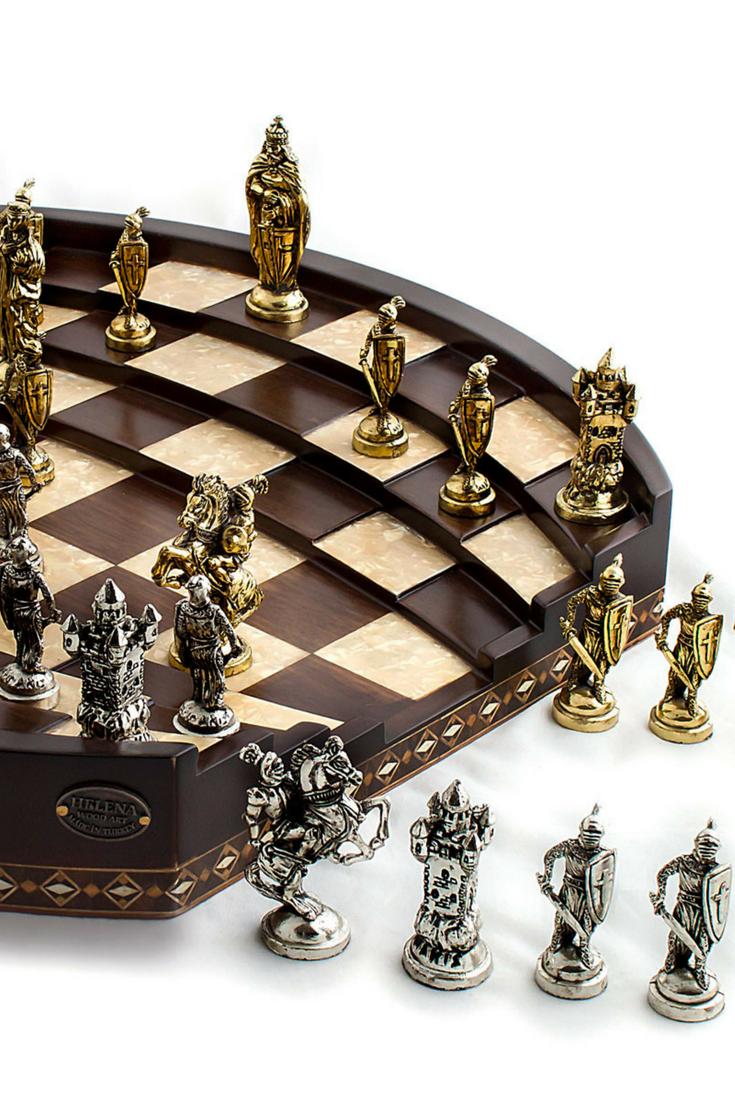 Chess Arena | Handmade Chess Set with Classy Metal Figures | Walnut