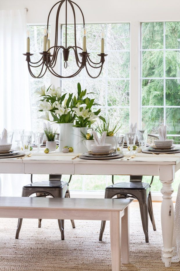 A Simple But Elegant Easter Table Setting Complete With Variety Of Prints Bunny Napkins