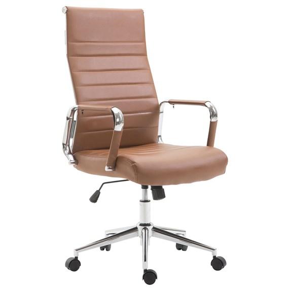 Chaise De Bureau Kolmu Pietement Metallique Cuir Marron Chaisepro Fr Fauteuil Bureau Chaise Bureau Fauteuil