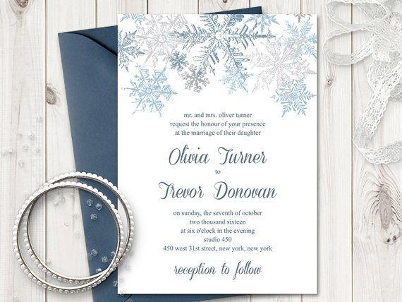 Winter Wedding Invitation Template Snowflakes Silver Blue DIY