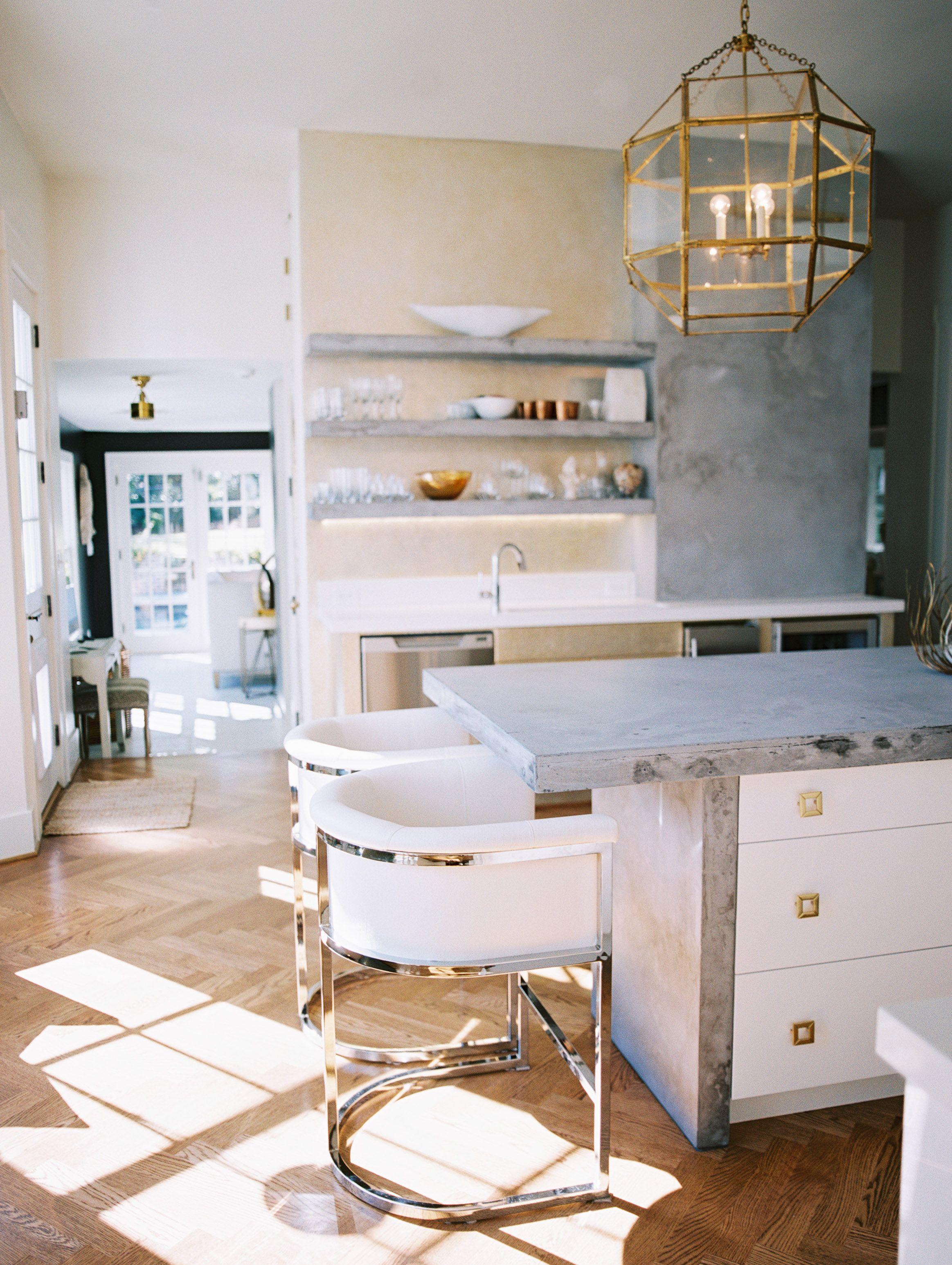Modern Kitchen with concrete countertops with herringbone floors ...