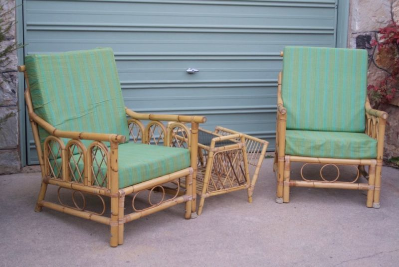 Vintage Retro Cane Arm Chairs with Low Table Armchairs Gumtree