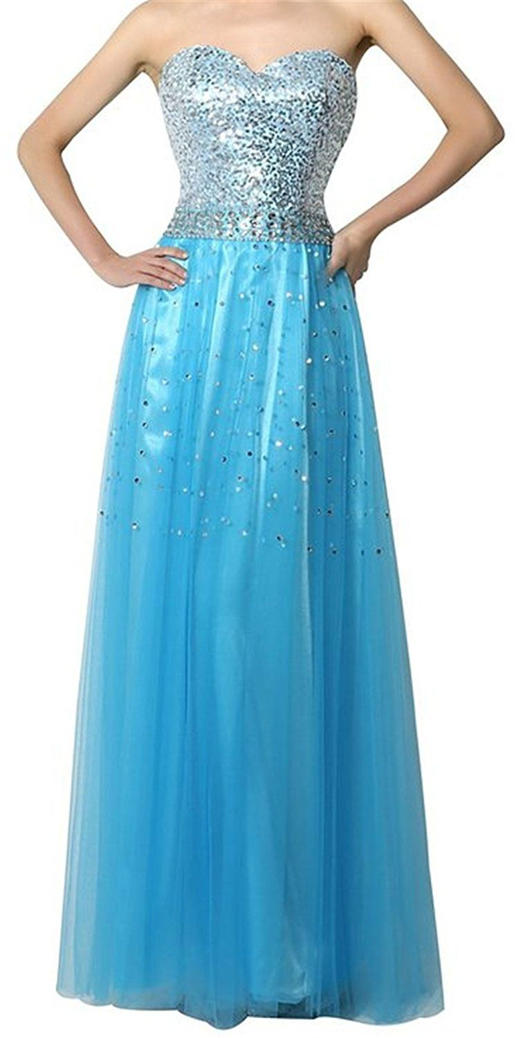 Endofjune gorgeous Strapless yarn with bright dress US-14 Blue * See ...