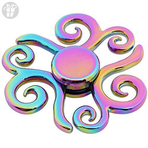 Rainbow Metal Zinc Alloy Flower Shape Hand Spinner Fidget Spinner EDC Killings Time Relieve Stress ADHD Anti-anxiety Autism Helps Focus Quit Smoking Spinning Tops Desk Finger Gyro Toys Adult/Kids Gift - Fidget spinner (*Amazon Partner-Link)
