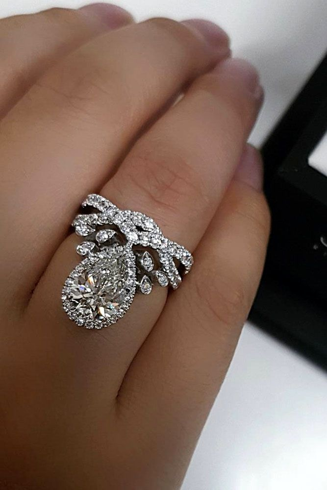 vintage rings story love engagement white gold style pear in storyr shaped ring diamond