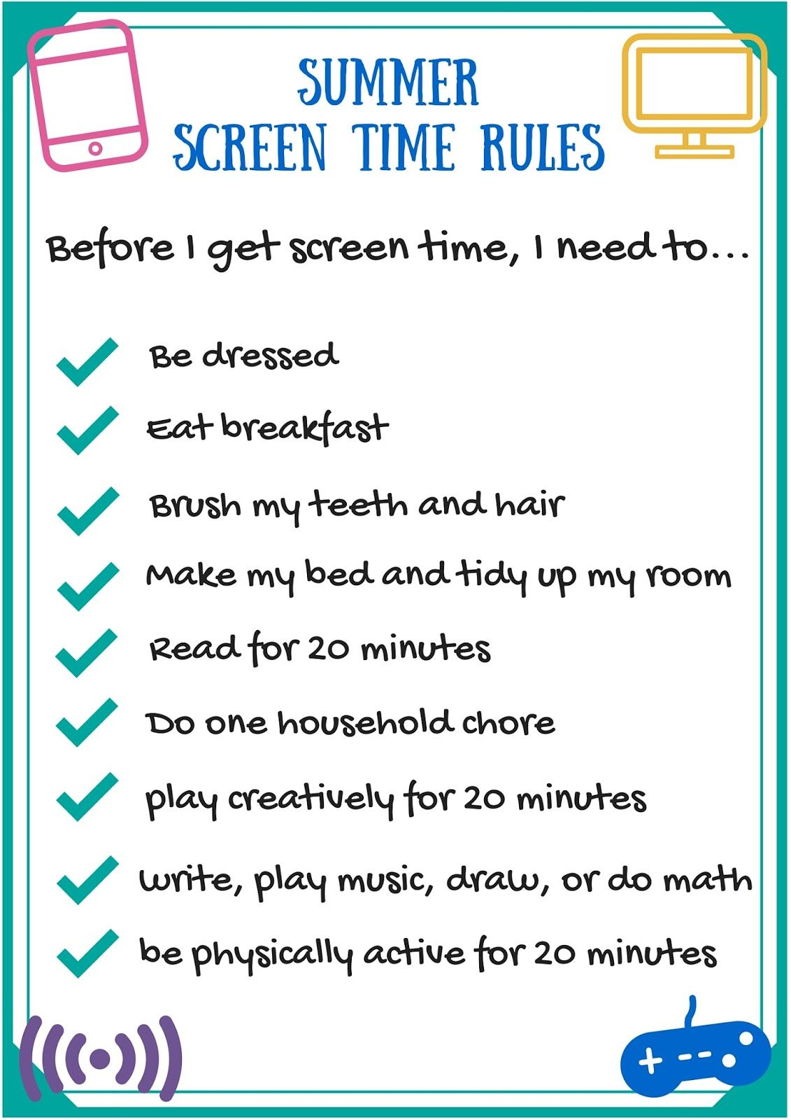 Free Summer Screen Time Rules Printable