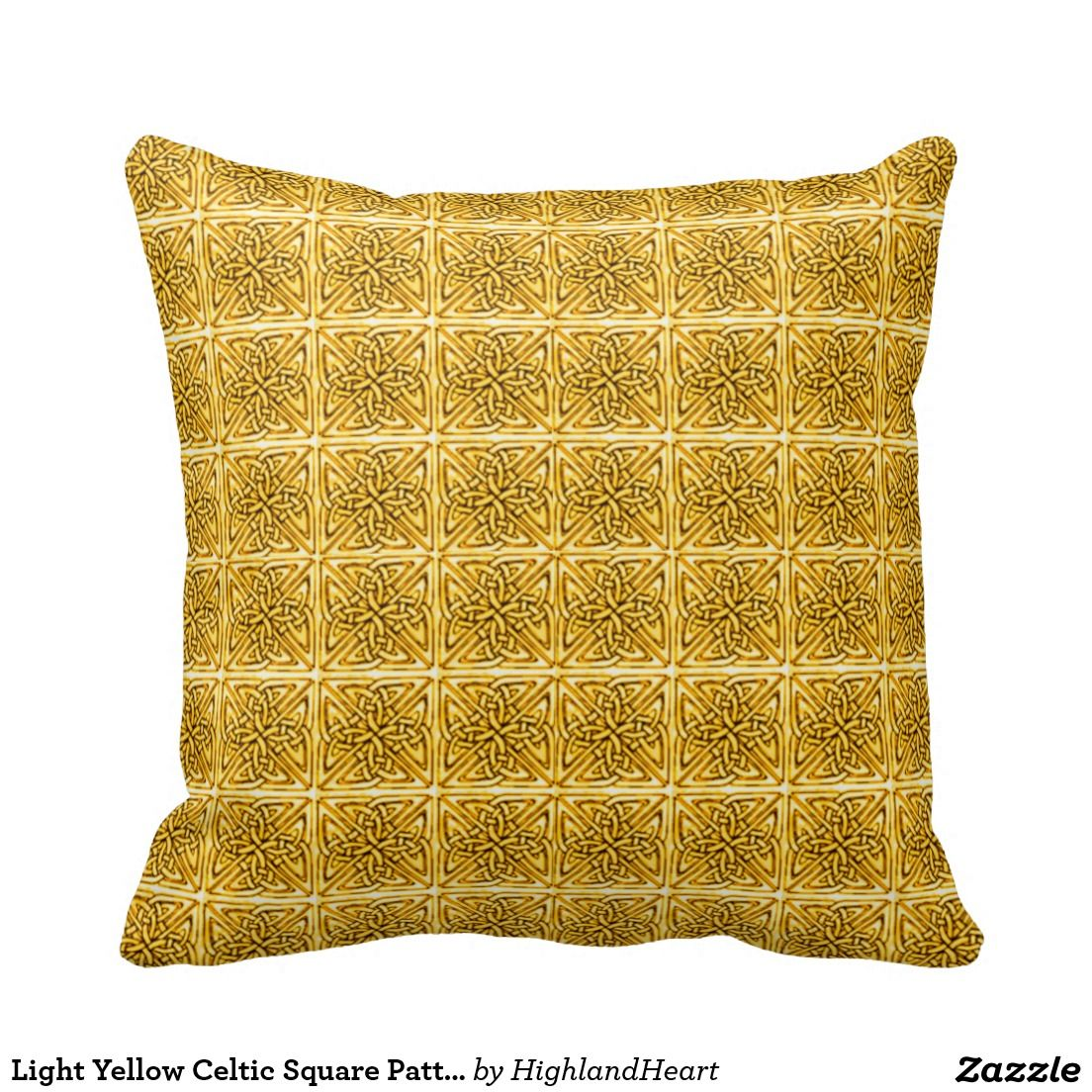 Light yellow celtic square pattern throw pillow square patterns
