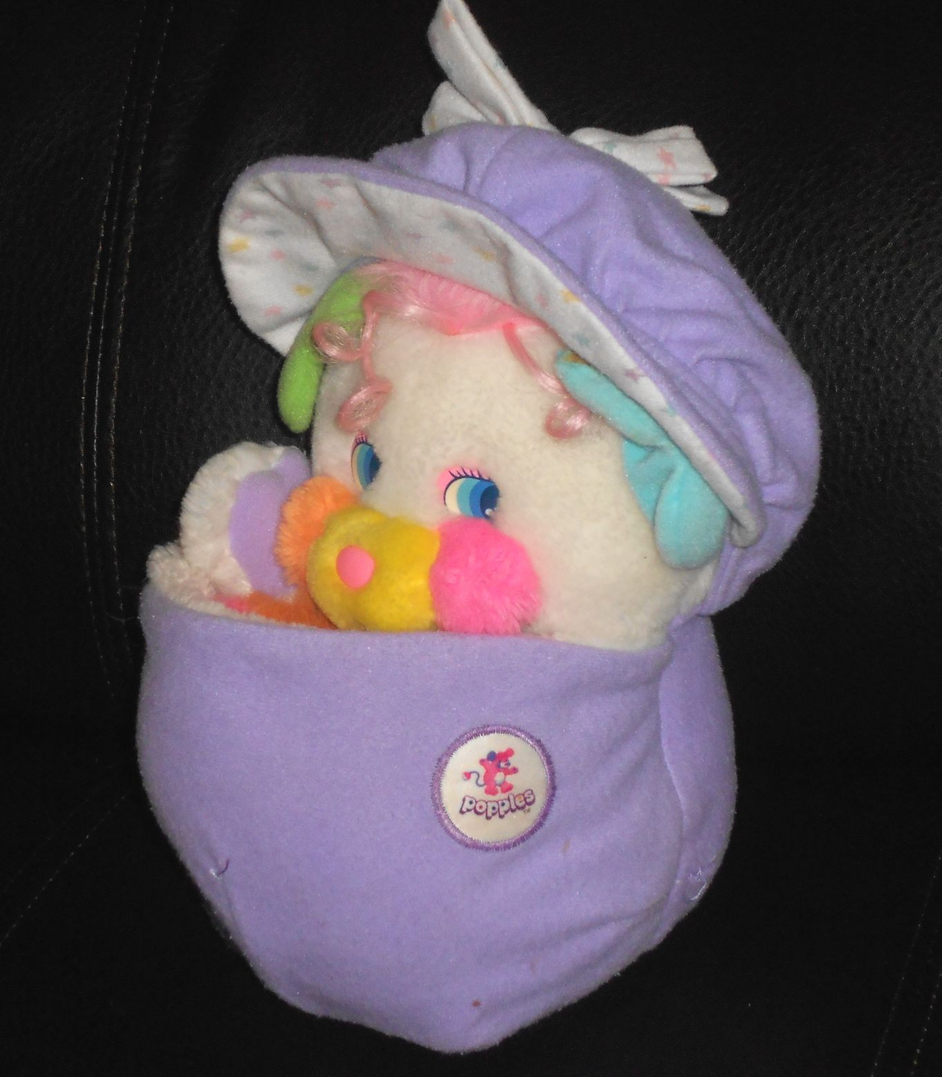 "VTG Popples White & Purple Baby Popple Baby Cribsy 13"" 1980s"