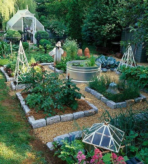Handsome Veggie Garden Layout  Complete With Above Ground Koi Pond In The  Middle