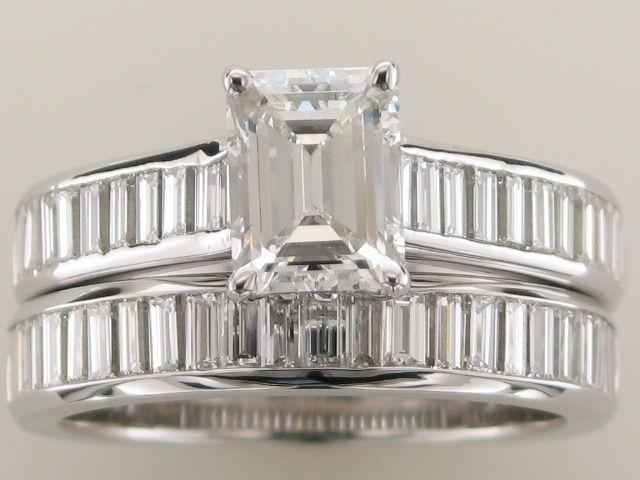 Custom Made Bridal Set With 1ct Emerald Cut Diamond Center And 50