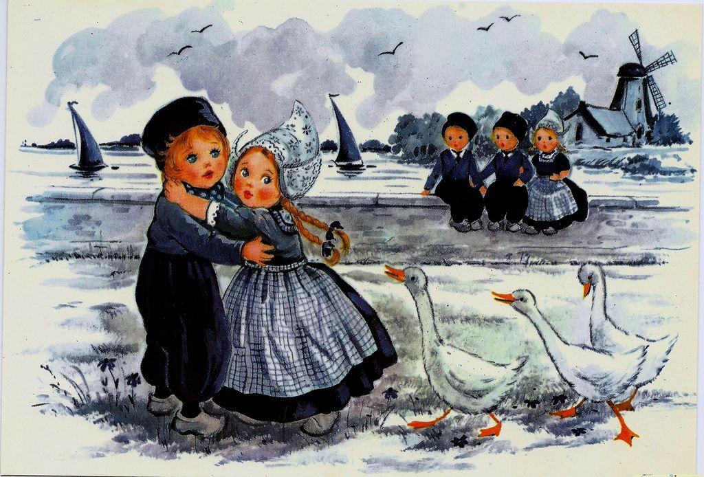 Старинные голландские открытки, добре зле