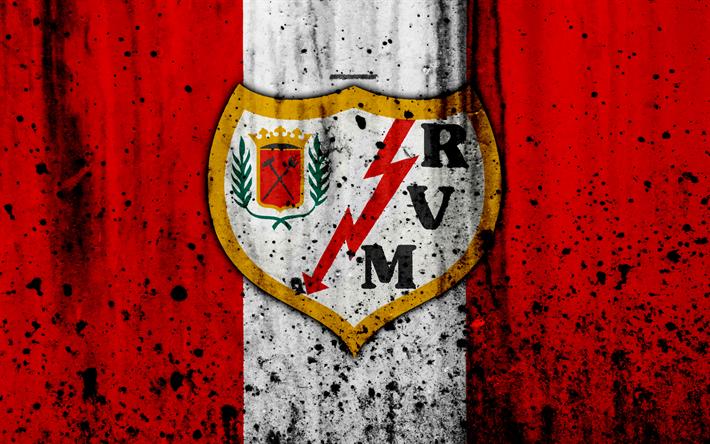 Download Wallpapers 4k Fc Rayo Vallecano Grunge Segunda Division