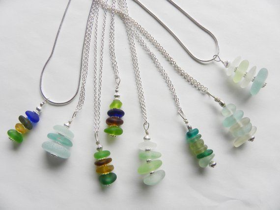 Photo of Sea Glass Stacked Pendant Necklace – Customizable, Single or Mixed Color, beach bridesmaid jewelry